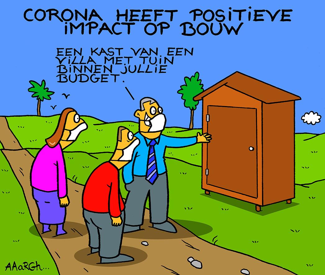 Cartoon Aaargh - Corona heeft een positieve impact op de bouwsector