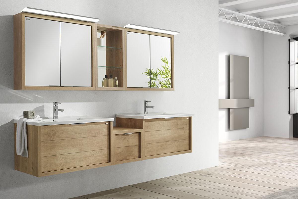Allibert gaat voor een badkamer in hout. Met de nieuwe houtlooks eik vintage en eik arlington en de reeksen Trentino, Marny en Aston