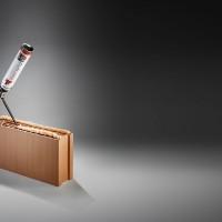 Porotherm Dryfix, de bouwtechniek met spuitbus voor de PLS lijmstenen van Wienerberger