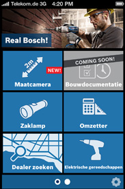 De Bosh Toolbox App voor op de bouwplaats en de werkplaats