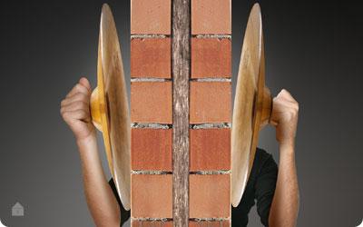 Knauf acoustiwall isolatie voor gemene muren in metselwerk